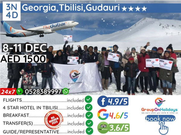 8-11 Dec 2021 Georgia Tbilisi Fixed Departure Holiday Packages with both ways Direct Flights & 3N4D 4* Hotel also 4.9 out of 5 rating by 6000+ people already purchased in past 440+ departures